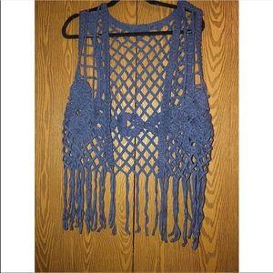 Jackets & Blazers - Blue crotchet, fringe festival vest